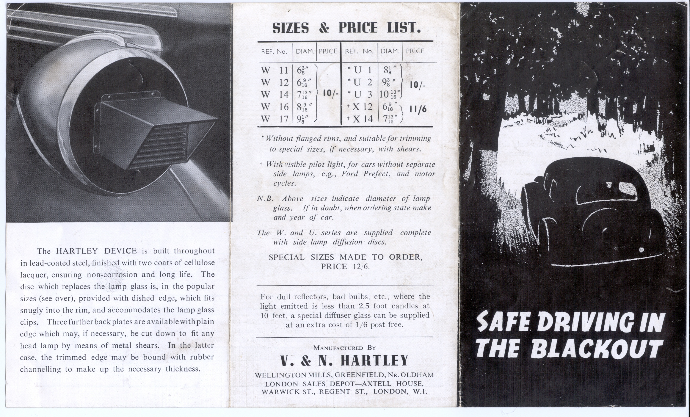 Sales leaflet for first type Hartley mask
